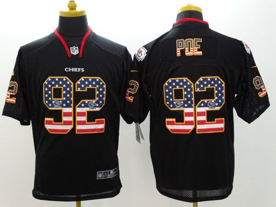 Mens Nfl Kansas City Chiefs #92 Poe Black (2014 Usa Flag Fashion) Elite Jersey