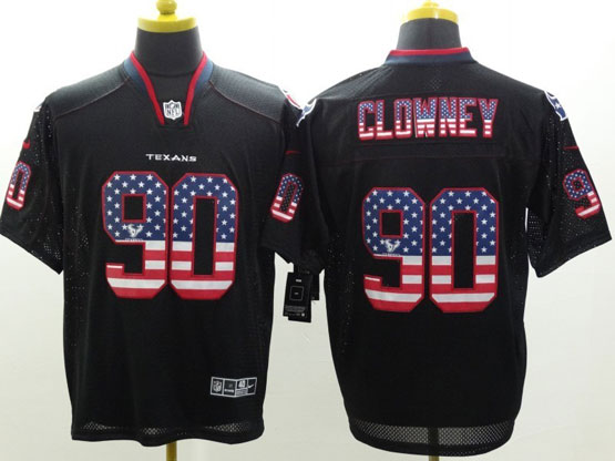 Mens Nfl Houston Texans #90 Clowney Black (2014 Usa Flag Fashion) Elite Jersey