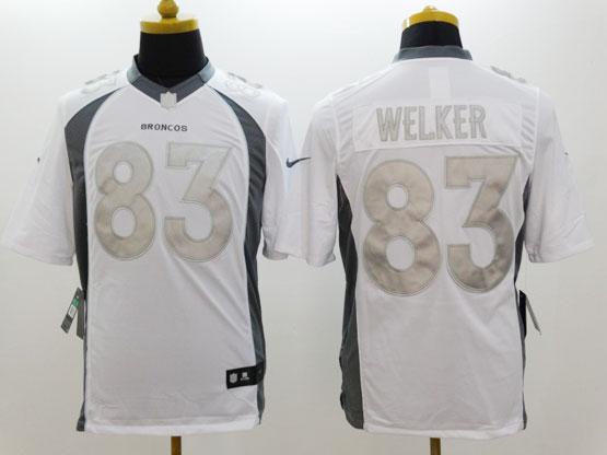 Mens Nfl Denver Broncos #83 Welker White (silver Number) Platinum Limited Jersey