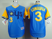 Mens mlb tampa bay rays #3 longorla light blue (back 1988 version) Jersey