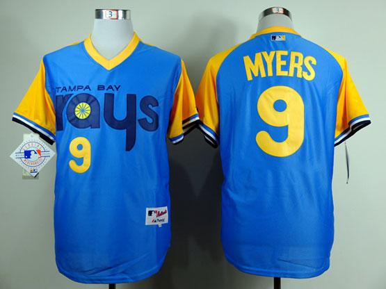 Mens mlb tampa bay rays #9 myers light blue (back 1988 version) Jersey