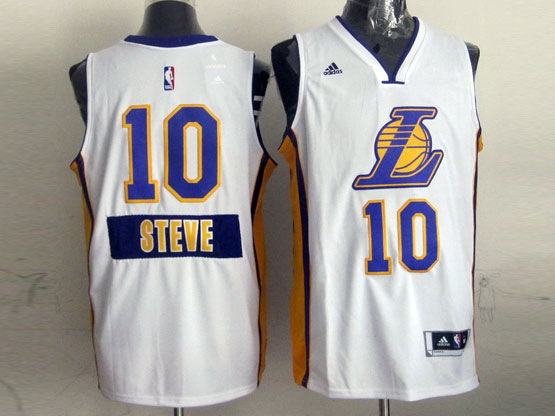 Mens Nba Los Angeles Lakers #10 Steve (2014 New Christmas) White Jersey