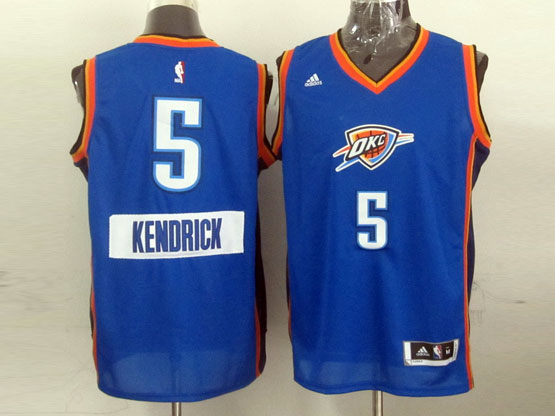 Mens Nba Oklahoma City Thunder #5 Kendrick (2014 New Christmas) Blue Jersey