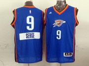 Mens Nba Oklahoma City Thunder #9 Serge (2014 New Christmas) Blue Jersey
