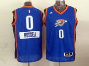 Mens Nba Oklahoma City Thunder #0 Russell (2014 New Christmas) Blue Jersey