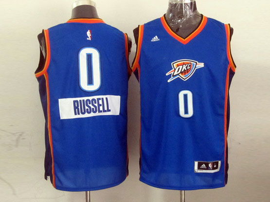 Mens Nba Oklahoma City Thunder #0 Russell (2014 New Christmas) Blue Jersey