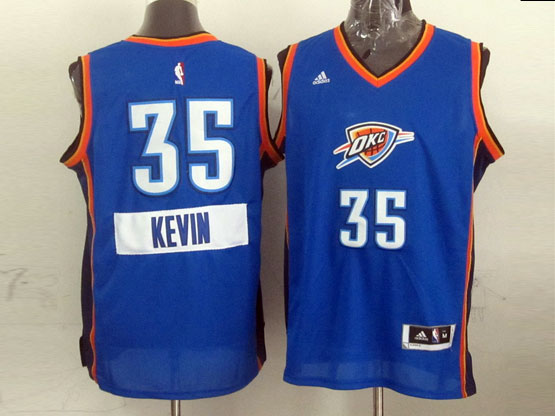 Mens Nba Oklahoma City Thunder #35 Kevin (2014 New Christmas) Blue Jersey