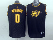 mens nba Oklahoma City Thunder #0 Russell Westbrook black precious metals fashion swingman jersey