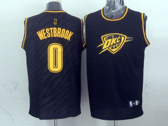mens nba Oklahoma City Thunder #0 Russell Westbrook black precious metals fashion swingman jersey