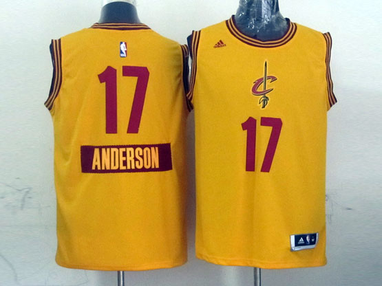 Mens Nba Cleveland Cavaliers #17 Anderson (2014 New Christmas) Yellow Jersey