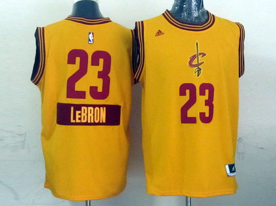 Mens Nba Cleveland Cavaliers #23 Lebron (2014 New Christmas) Yellow Jersey