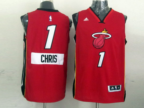Mens Nba Miami Heat #1 Chris (2014 New Christmas) Red Jersey