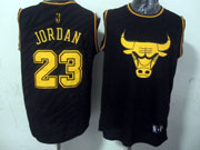 Mens Nba Chicago Bulls #23 Jordan Black Precious Metals Fashion Swingman Jersey