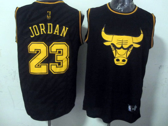 Mens Nba Chicago Bulls #23 Jordan Black Precious Metals Fashion Swingman Jersey