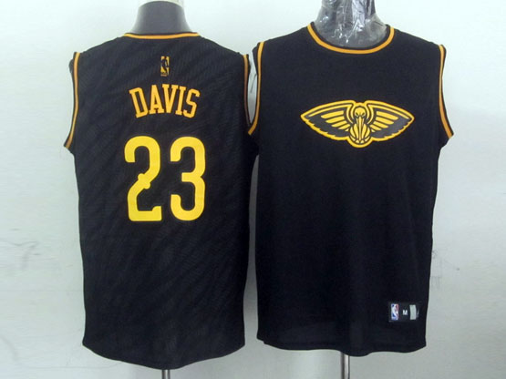 Mens Nba Charlotte Hornets #23 Davis Black Precious Metals Fashion Swingman Jersey