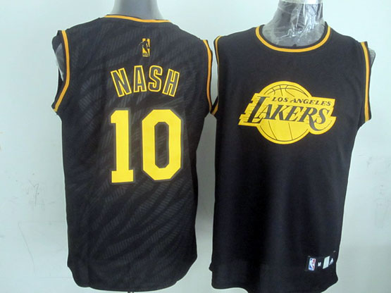 Mens Nba Los Angeles Lakers #10 Nash Black Precious Metals Fashion Swingman Jersey