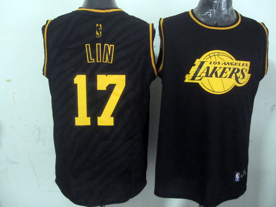 Mens Nba Los Angeles Lakers #17 Lin Black Precious Metals Fashion Swingman Jersey
