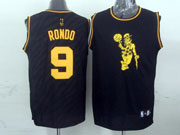 Mens Nba Boston Celtics #9 Rondo Black Precious Metals Fashion Swingman Jersey