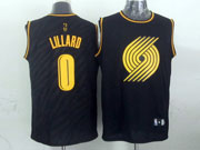 Mens Nba Portland Trail Blazers #0 Lillard Dark Blue Precious Metals Fashion Swingman Jersey