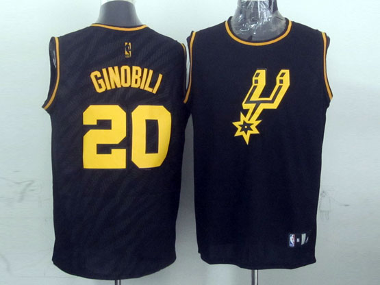 Mens Nba San Antonio Spurs #20 Ginobili Dark Blue Precious Metals Fashion Swingman Jersey