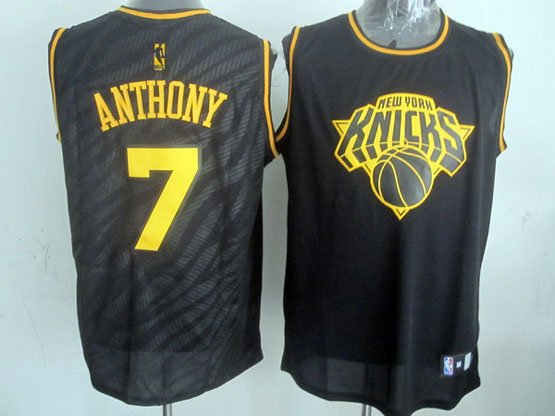 mens nba New York Knicks #7 Carmelo Anthony black precious metals fashion swingman jersey