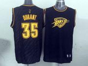 Mens Nba Oklahoma City Thunder #35 Durant Black Precious Metals Fashion Swingman Jersey
