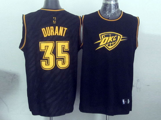 Mens Nba Oklahoma City Thunder #35 Durant Black Precious Metals Fashion Swingman Jersey