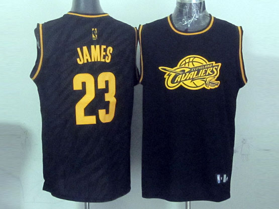 Mens Nba Cleveland Cavaliers #23 Lebron James Black Precious Metals Fashion Swingman Jersey
