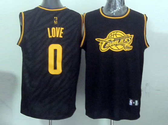 Mens Nba Cleveland Cavaliers #0 Kevin Love Black Precious Metals Fashion Swingman Jersey