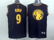 Mens Nba Minnesota Timberwolves #9 Rubio Black Precious Metals Fashion Swingman Jersey