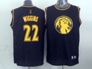 Mens Nba Minnesota Timberwolves #22 Wiggins Black Precious Metals Fashion Swingman Jersey