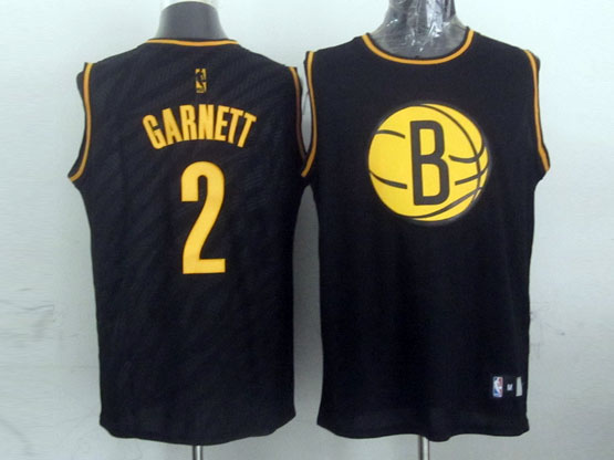 Mens Nba Brooklyn Nets #2 Garnett Black Precious Metals Fashion Swingman Jersey