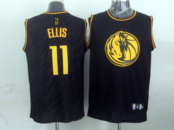 Mens Nba Dallas Mavericks #11 Ellis Black Precious Metals Fashion Swingman Jersey