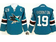 women  nhl san jose sharks #19 thornton green (2014 new) Jersey