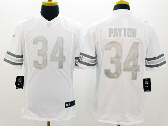 mens nfl Chicago Bears #34 Walter Payton white (silver number) platinum limited jersey