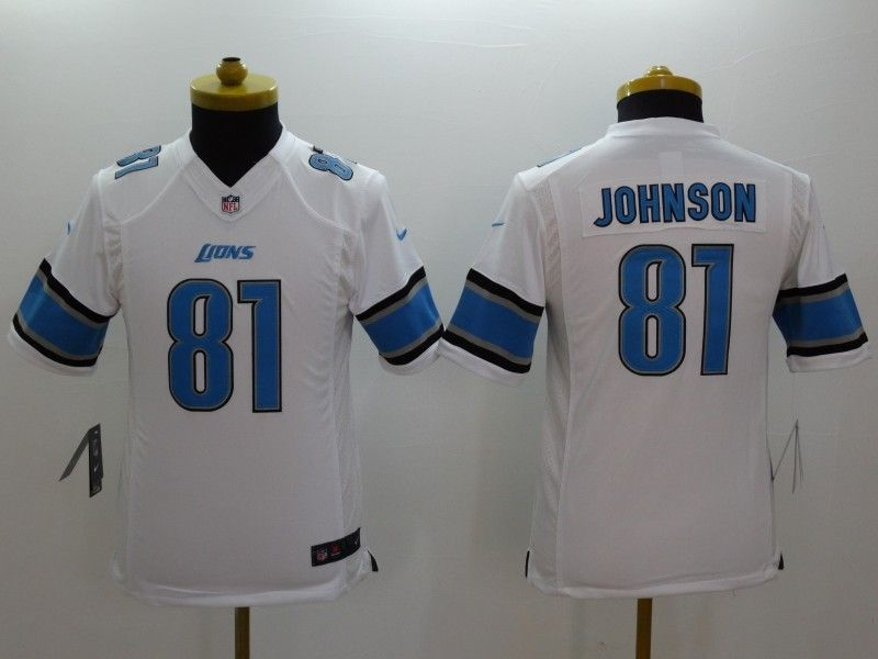 Youth Nfl Detroit Lions #81 Johnson White Limited Jersey