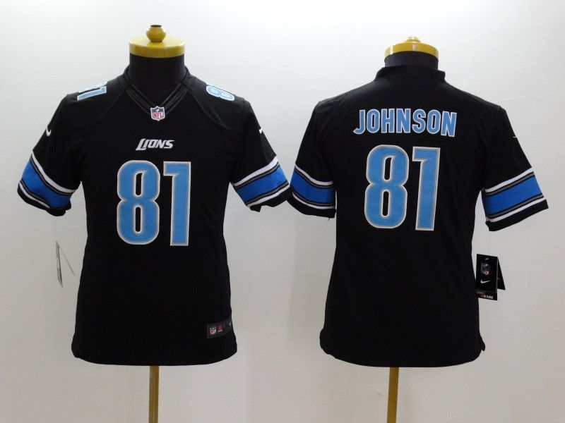 Youth Nfl Detroit Lions #81 Johnson Black Limited Jersey