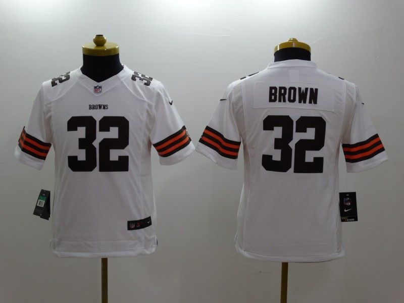 Youth Nfl Cleveland Browns #32 Brown White Limited Jersey