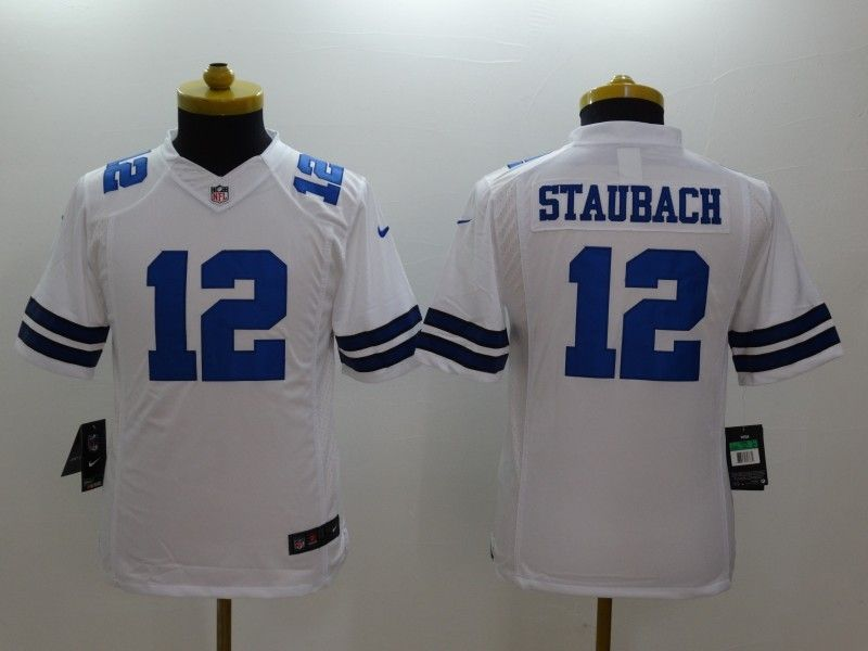 Youth Nfl Dallas Cowboys #12 Staubach White Limited Jersey