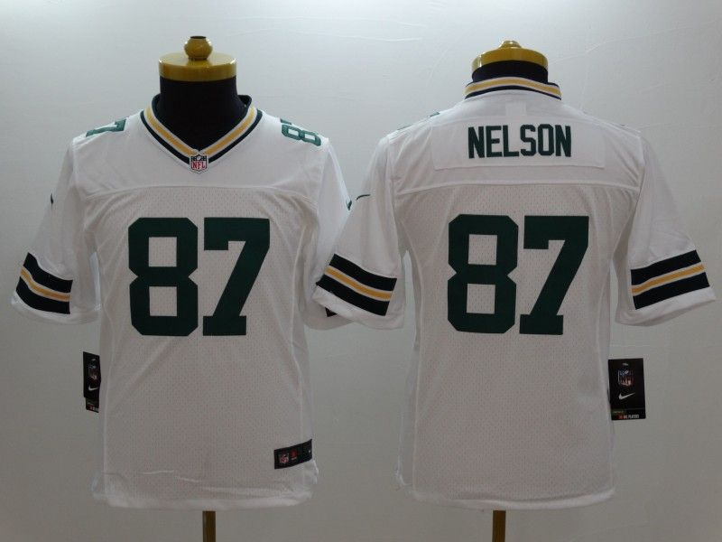Youth Nfl Green Bay Packers #87 Nelson White Limited Jersey