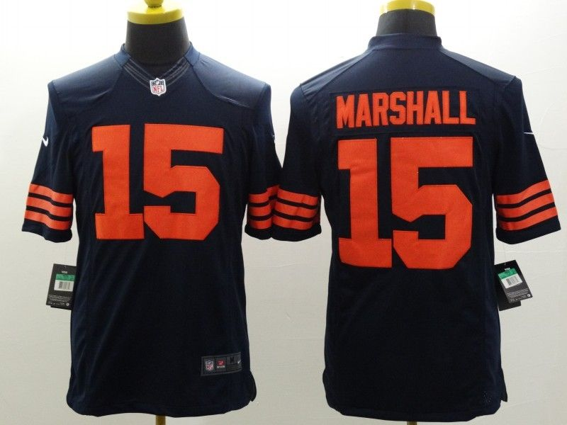Mens Nfl Chicago Bears #15 Marshall Blue (orange Number) Limited Jersey