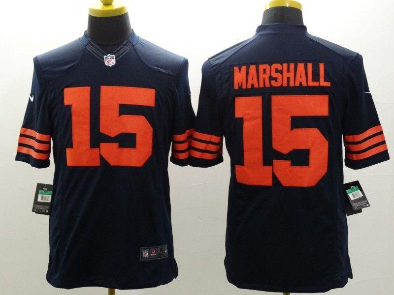 Mens Nfl Chicago Bears #15 Marshall Blue (orange Number) Limited Jersey