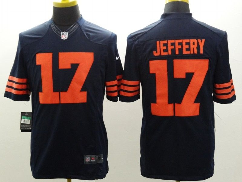 mens nfl Chicago Bears #17 Alshon Jeffery blue (orange number) limited jersey