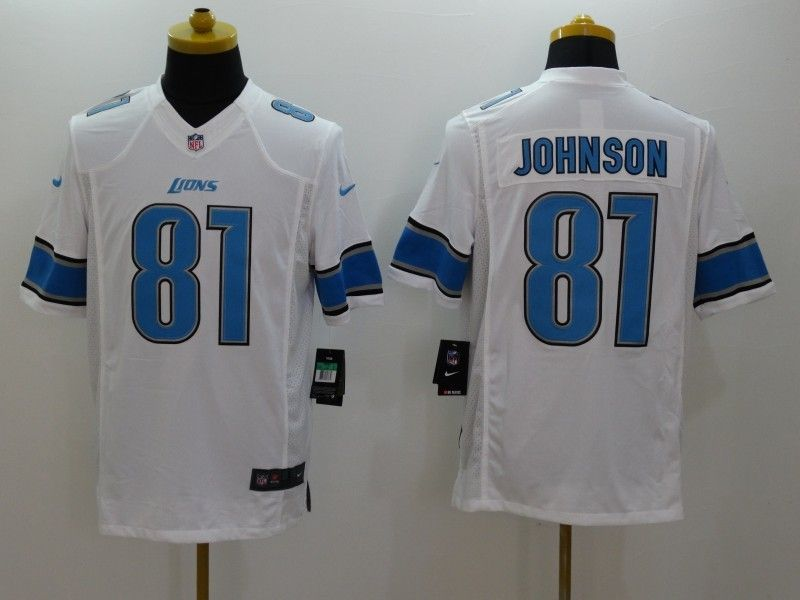 Mens Nfl Detroit Lions #81 Johnson White Limited Jersey