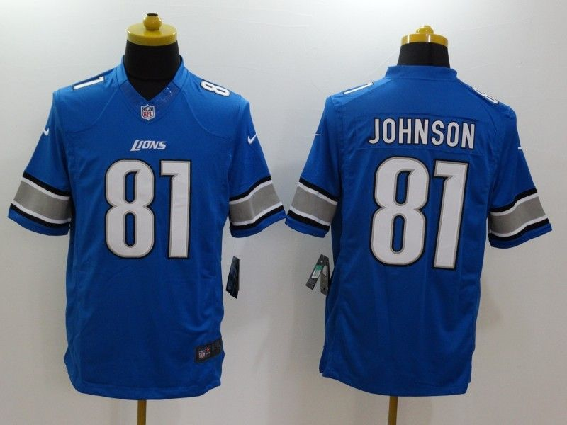 Mens Nfl Detroit Lions #81 Johnson Blue Limited Jersey
