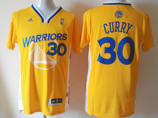 Mens Nba Golden State Warriors #30 Curry Yellow (short Sleeve) Jersey