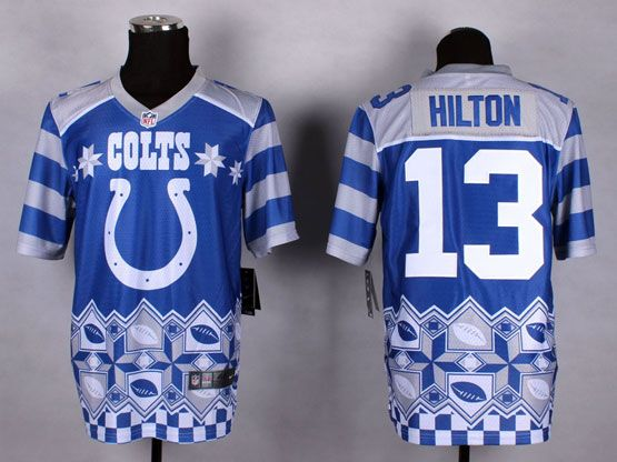 Mens Nfl Indianapolis Colts #13 Hilton Blue 2015 Noble Fashion Elite Jersey