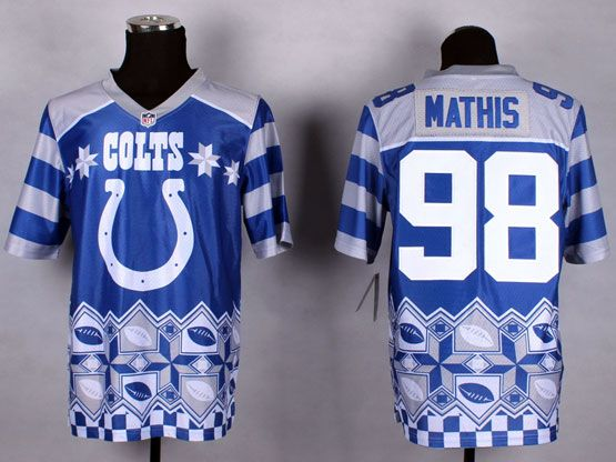 Mens Nfl Indianapolis Colts #98 Mathis Blue 2015 Noble Fashion Elite Jersey