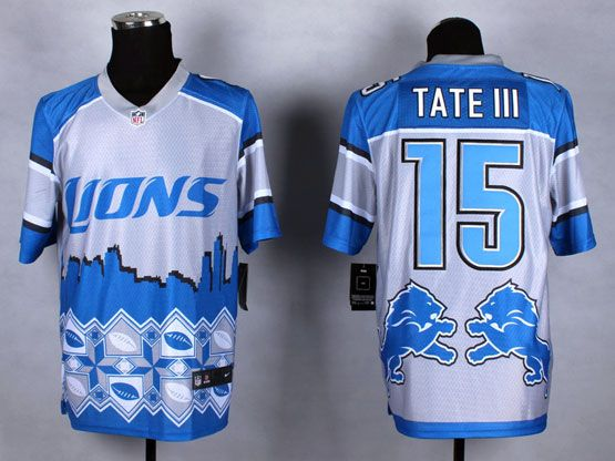 Mens Nfl Detroit Lions #15 Tate Iii Blue&white 2015 Noble Fashion Elite Jersey