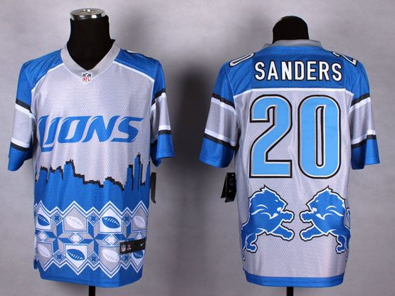 mens nfl Detroit Lions #20 Barry Sanders blue&white 2015 noble fashion elite jersey